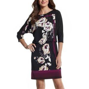 WHBM Floral Print 3/4 sleeve Blouson Dress